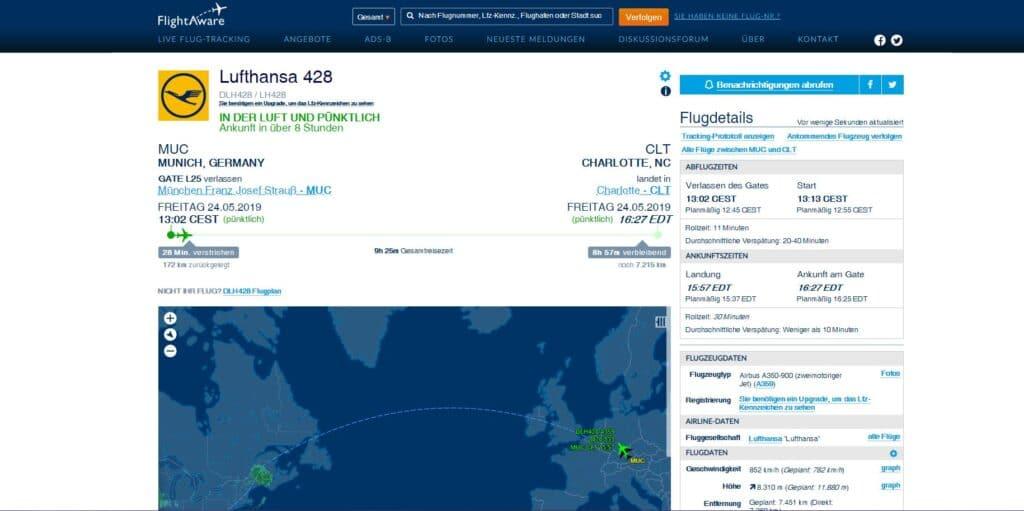 Interface de Flightaware