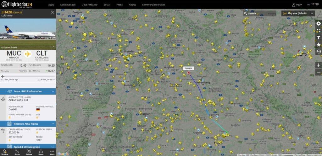 Interface de Flightradar24