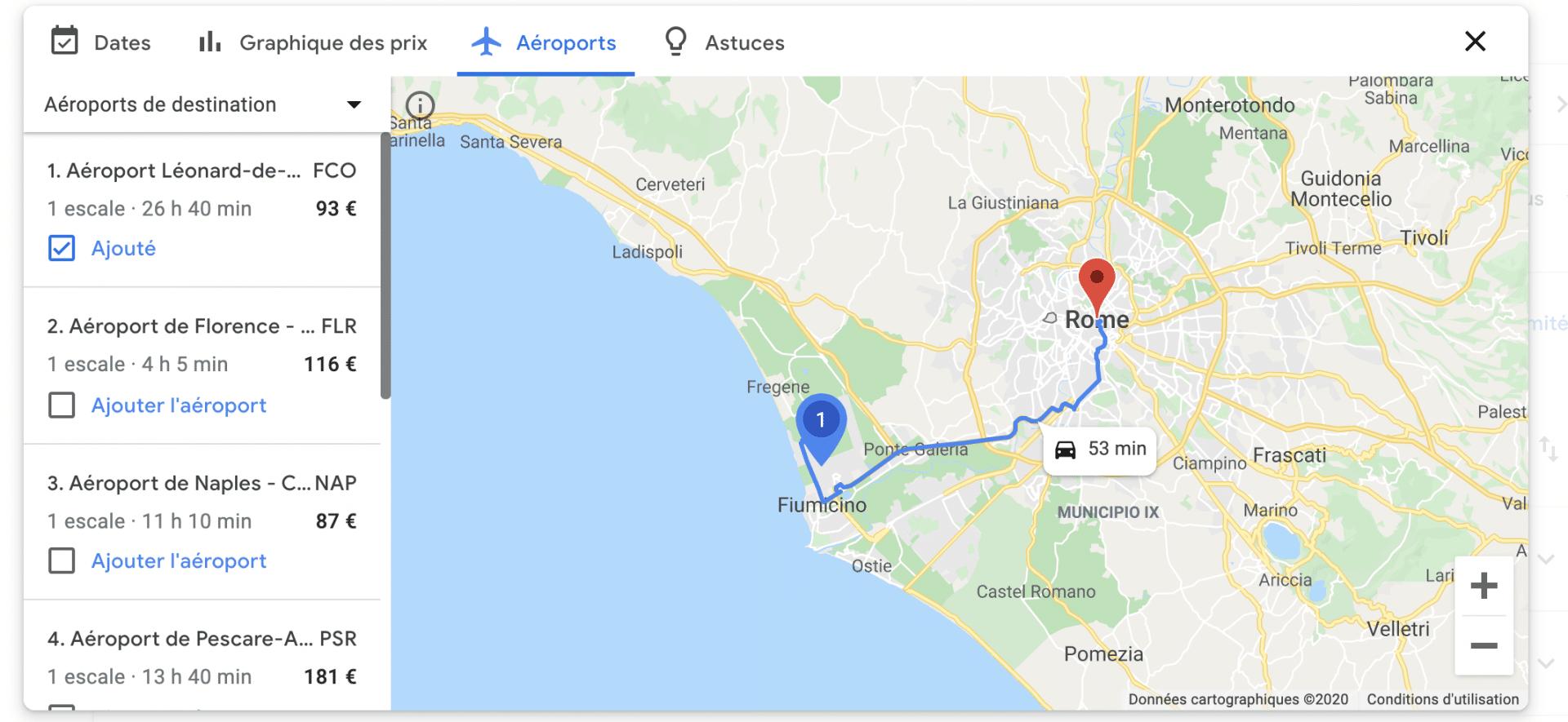 Trouver des vols avec Google Flights