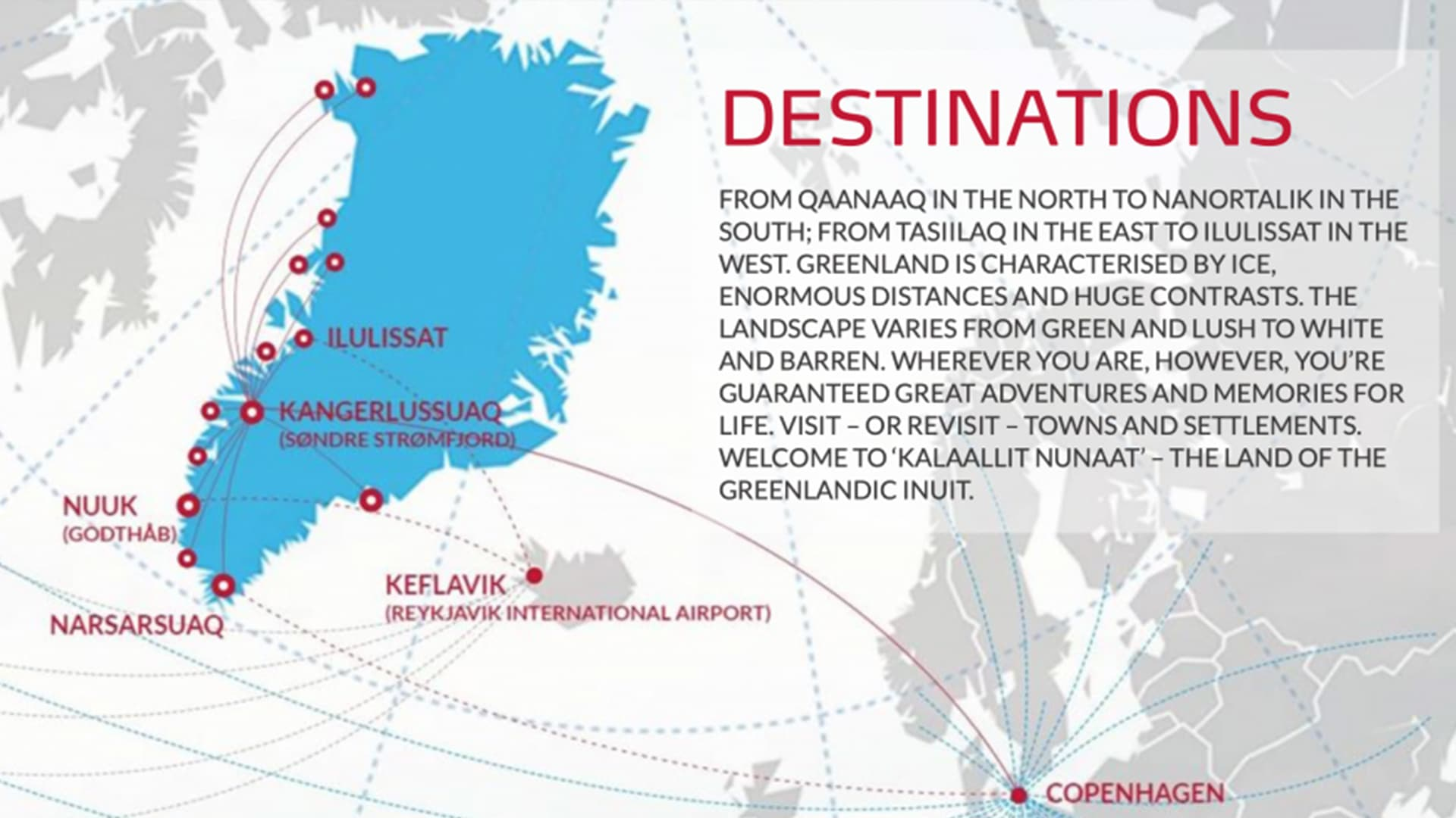 Destinations desservies par Air Greenland