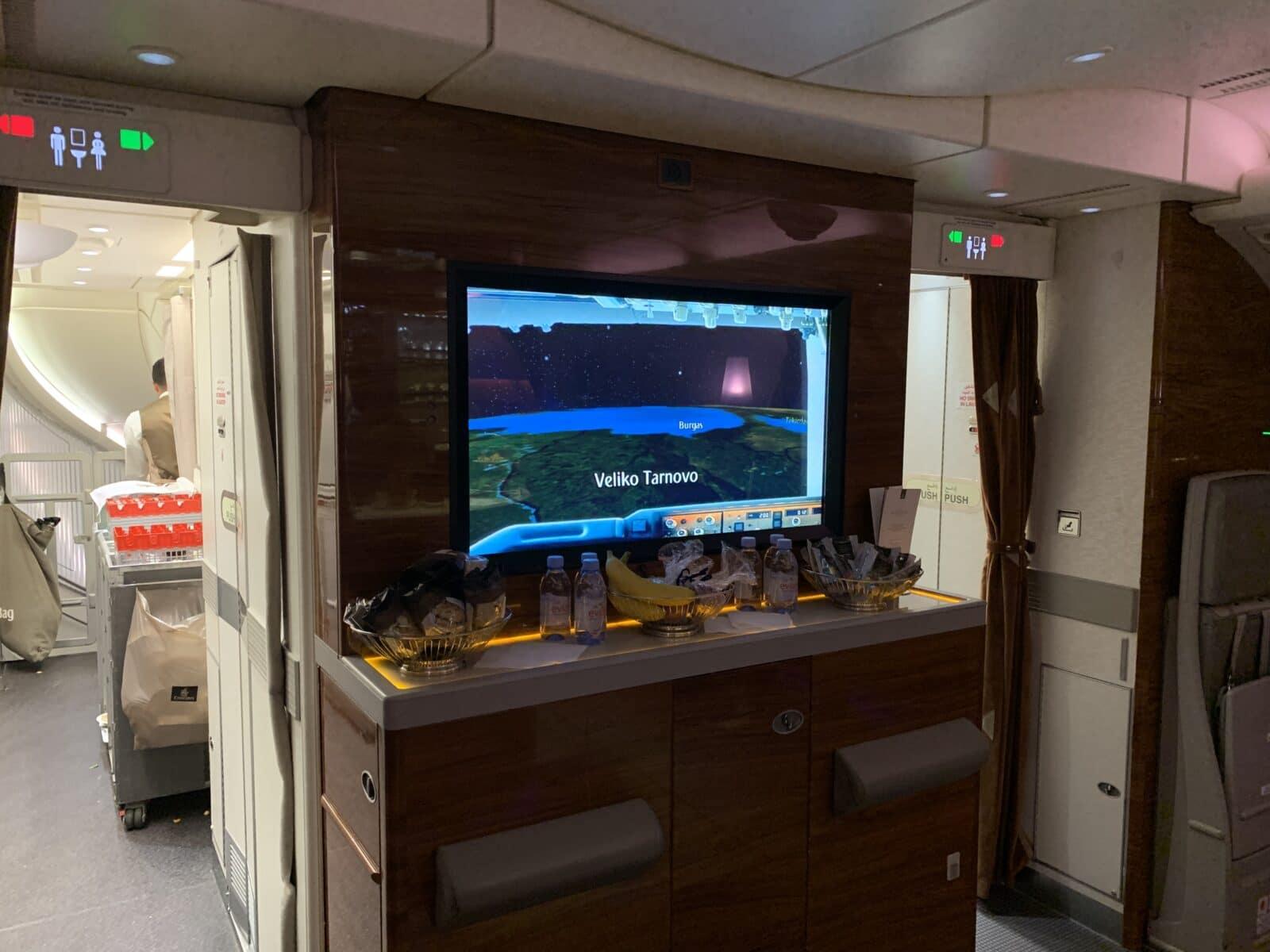 Bar à bord de la Première Classe du Airbus A380 d'Emirates