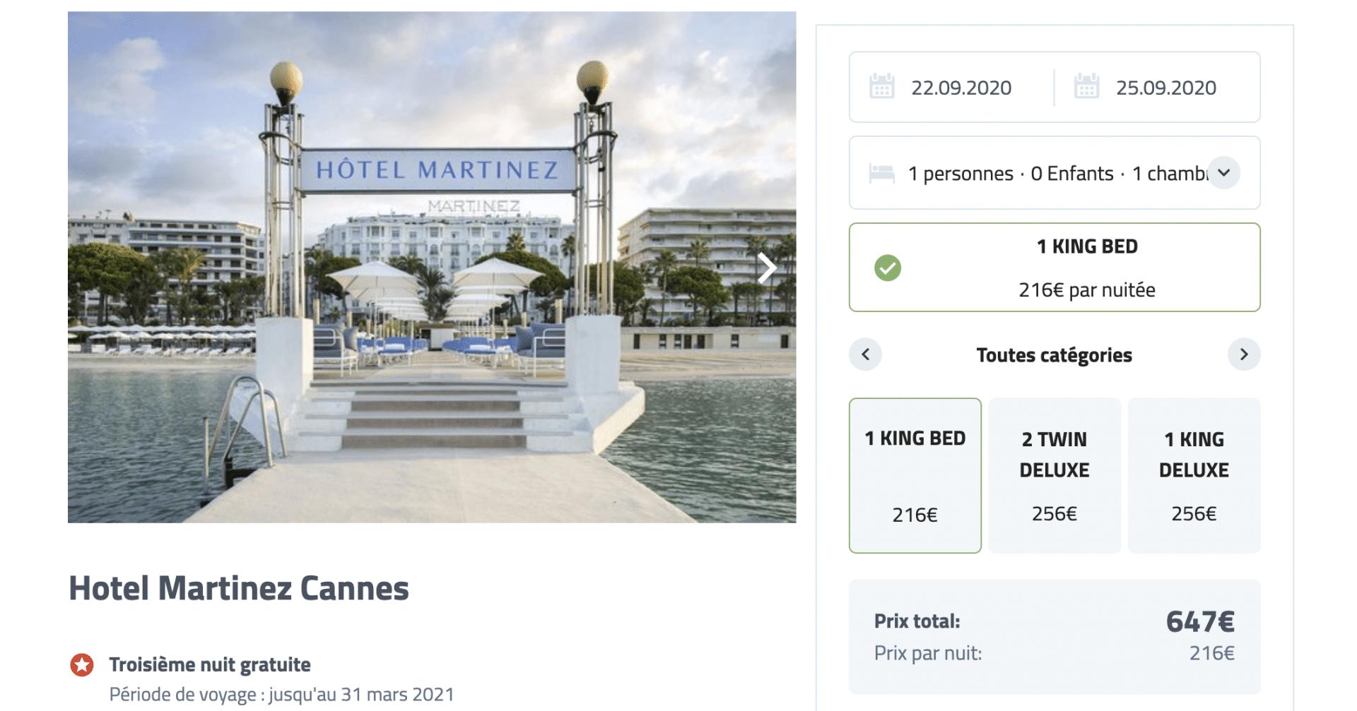 Bon plan à l'hôtel Martinez Cannes