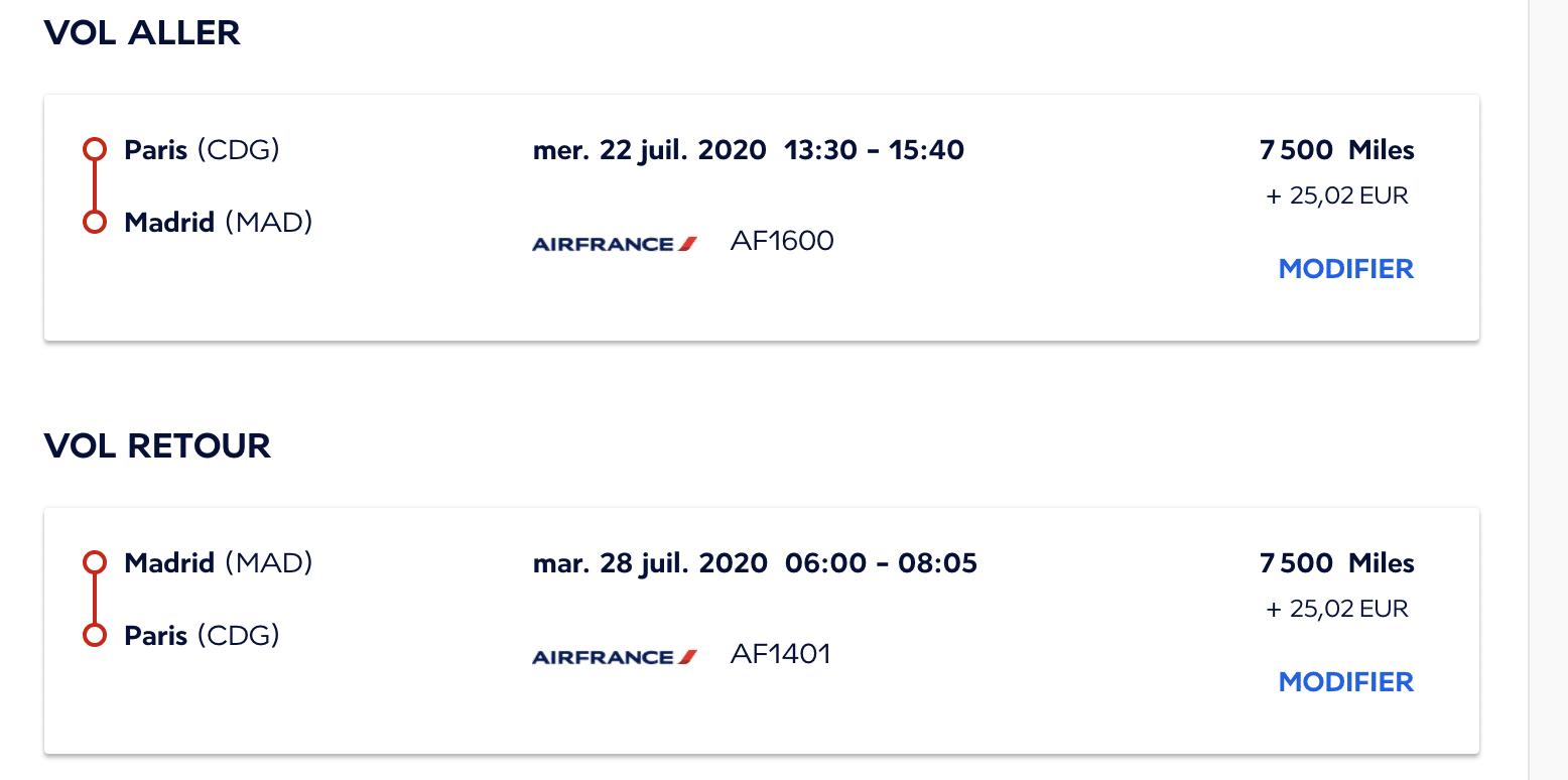 Vol Paris-Madrid avec Flying Blue