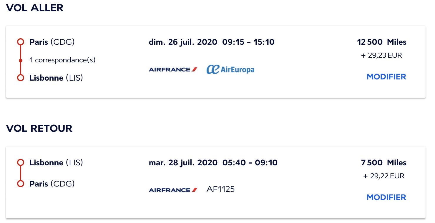 Vol Paris-Lisbonne avec Flying Blue