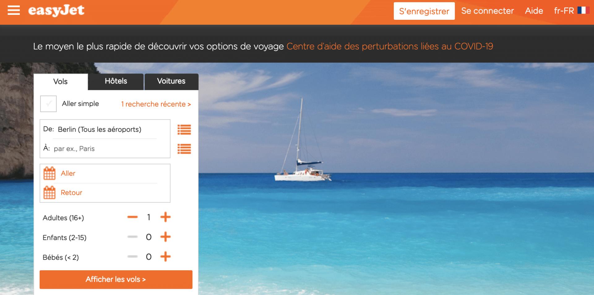 Site web d'easyJet